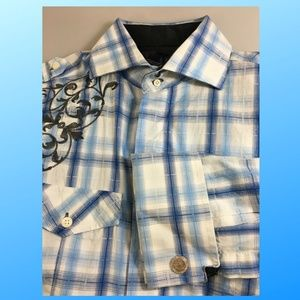 English Laundry M Blue White Plaid Shirt NEW